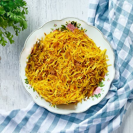 Balaleet  Vermicelli pasta cooked in a special Emirati way seasoned with cardamom, cinnamon and saffron