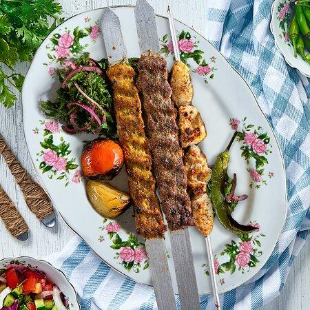 Mixed Barbecue  Three skewers selected from tikka laham, tikka deyay, kebab laham, kebab deyay.