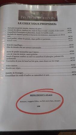 Conflans-sur-Anille, France: Le menu