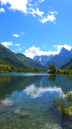 Dombay, Russia: Clear water allows you to see stones. Lake Tumanly-Kol. North Caucasus