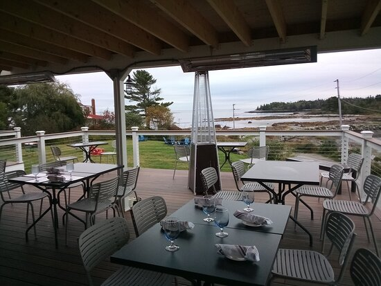Spruce Head, ME: Deck overlooking the small bay