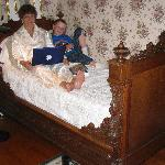My grandson and me in the Rose Room, taking advantage of the wi-fi to put pictures on ancestry.c