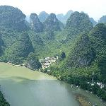 View across the limestone mountains at Xingping, Guilin