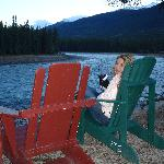 Chairs by the river