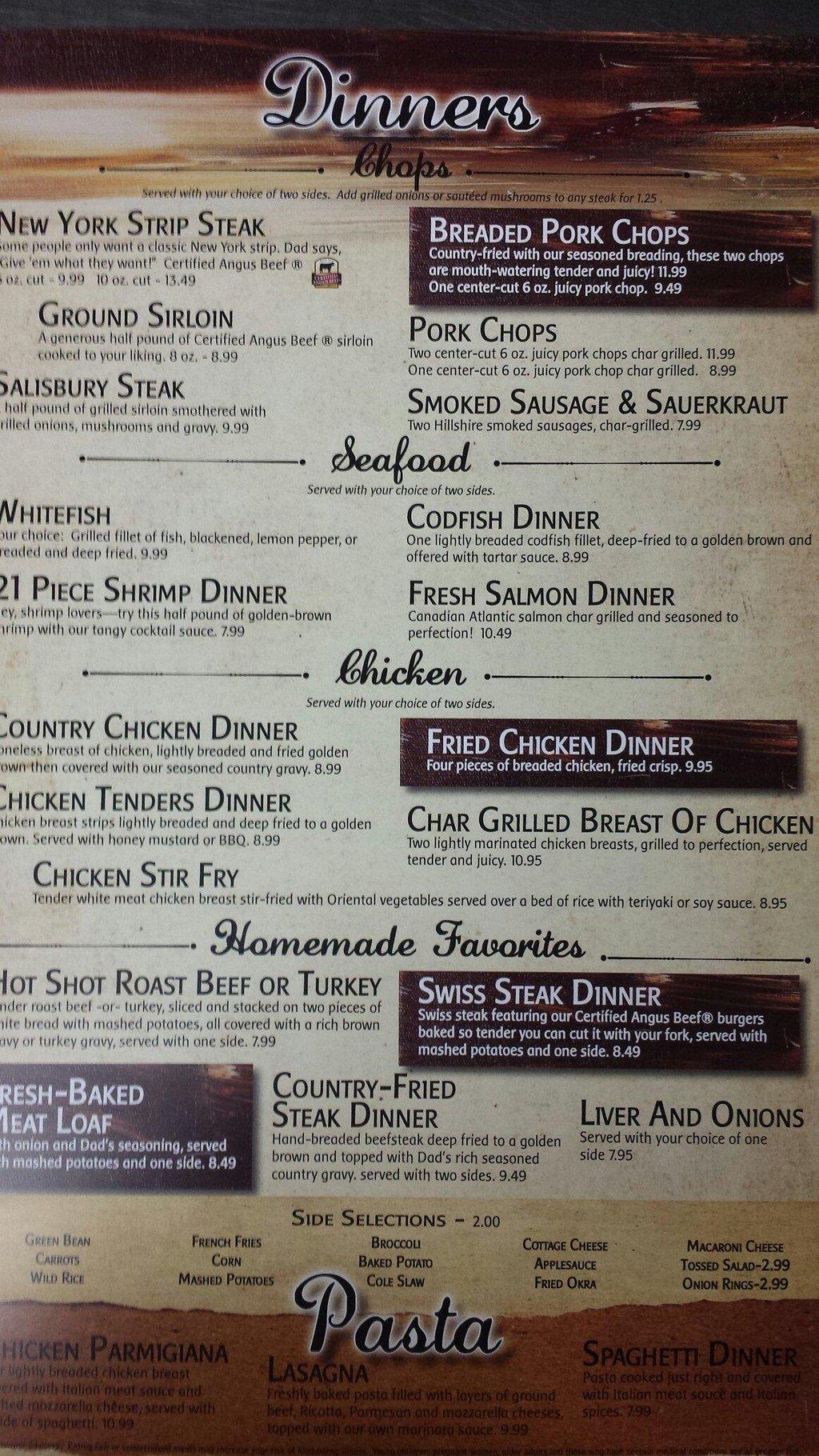 Dad's menu