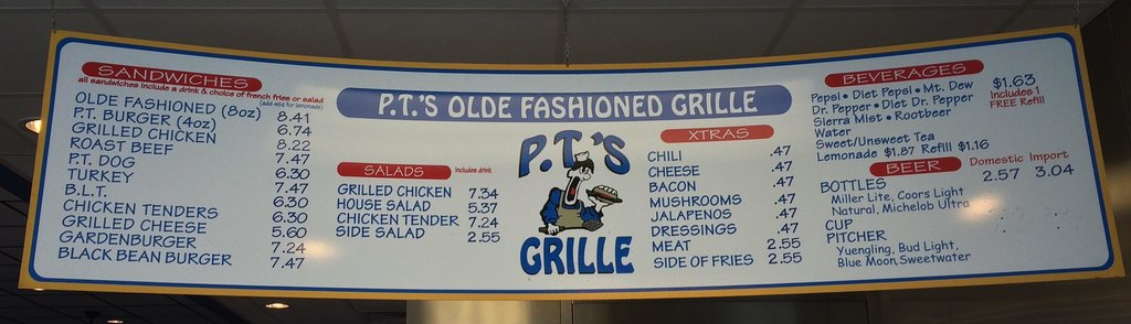 PTs Grill menu board