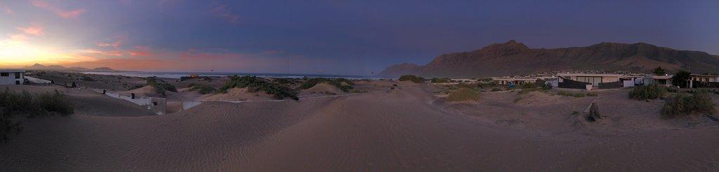 Famara beach, accomodation appartments and sunset