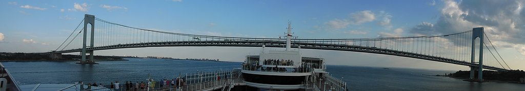 View from our ship the Queen Victoria going under the Bridge