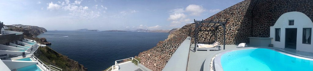 A panoramic view to the hotel suites and Santorini caldera, from the Spa.