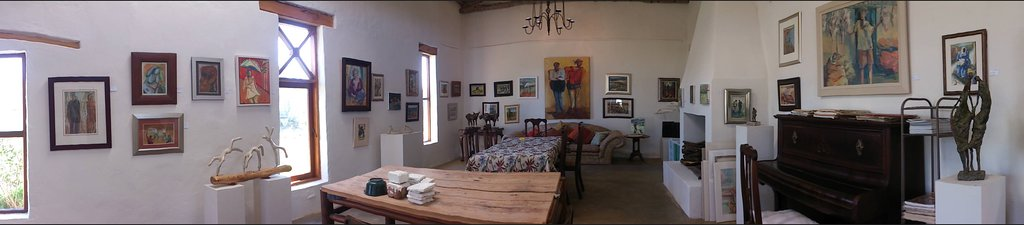 The Langkloof Gallery with oil paintings, sculptures and pastels inside the renovated barn.