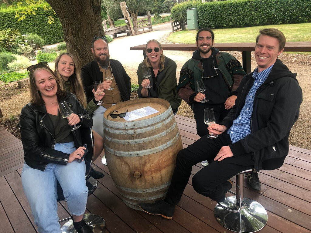 My group enjoying their tasting at the fabulous Pier 10 winery in Shoreham, one of our lunch venues on our daily Mornington Peninsula wine tours.