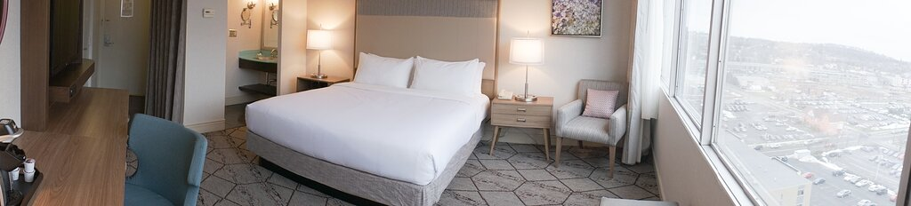 a panoramic shot of our newly renovated king bed room.