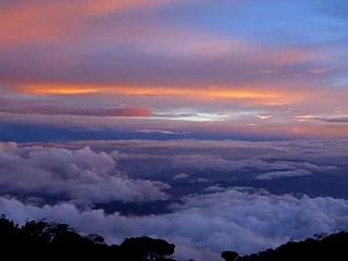 Sabah, Malaysia: Panorama of sunset from Laban Rata