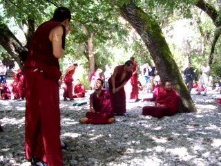 Tibetan Buddhist monks hard at work