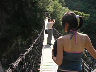 Hualien, Tayvan: The suspended bridge