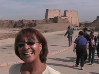 Luxor, Egypt: 02. Anita at Edfu Temple