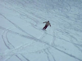 a)me skiing down the bowl