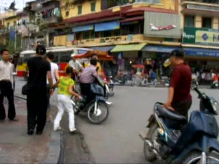 Crossing the road in Hanoi