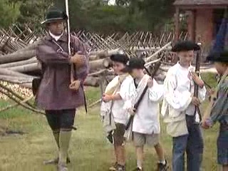 Ethan learning to March in Colonial Williamsburg