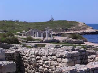 The historic site of Khersones, by the Black Sea, Sevastopol
