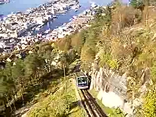 Bergen, Norway: The blue funicular is approaching the upper station at mount Floyen.