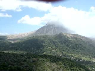 Montserrat volcano overlooking devastated ex-capital Plymouth.