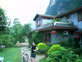 In front of the hotel Yanghou Mountain Retreat