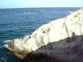Extreme jump on Margarita Island.