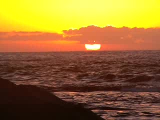 Island of Hawaii, HI: Whale breeching in front of setting sun