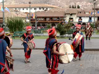 Κούσκο, Περού: Inti Raymi procession leaving the plaza