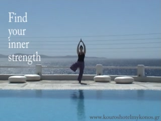 Kouros Hotel & Suites : Yoga Sessions next to our swimming pool overlooking the Aegean