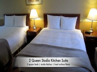 Kelowna Inn & Suites: 2 queen studio kitchen suite
