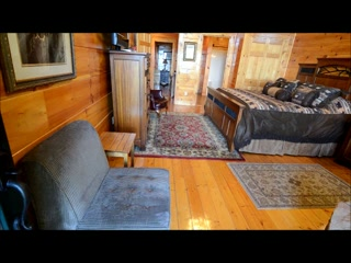 Smoky Cove Chalet and Cabin Rentals: Bedroom with Indoor Whirlpool Tub and View