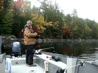 Kid Kipawa catches another nice walleye. Fall 2012