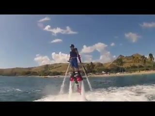 St. Kitts: 14 year old Connor Moye first flyboard session