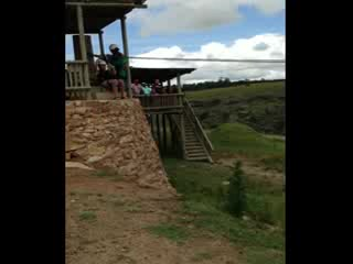 Lake Eland Zip Lines: The first slide down