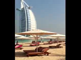 Jumeirah Mina A'Salam: In the private beach waiting for our golf cart to take us to wild wadi