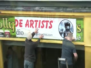The People's Gallery: Visit the studio of The Bogside Artists of Derry. Northern Ireland.