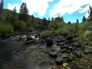 Paddling in a mountain stream