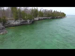 Cave Point Kayak Tour Drone Footage in Door County, Wisconsin