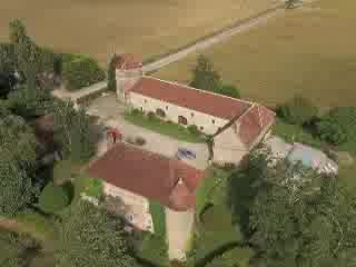 Chevannes, France : The Castle of Ribourdin, Bed and Breakfast in Burgundy, from the sky