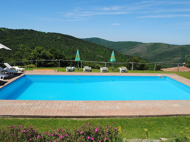 Ancient Villa in Tuscany-Umbria border, private pool. Incredible view!, vacation rental in Le Ville