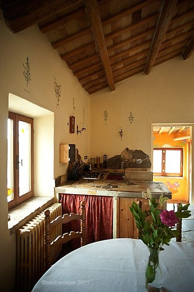 Your kitchen in the country house. Front right is the entrance.