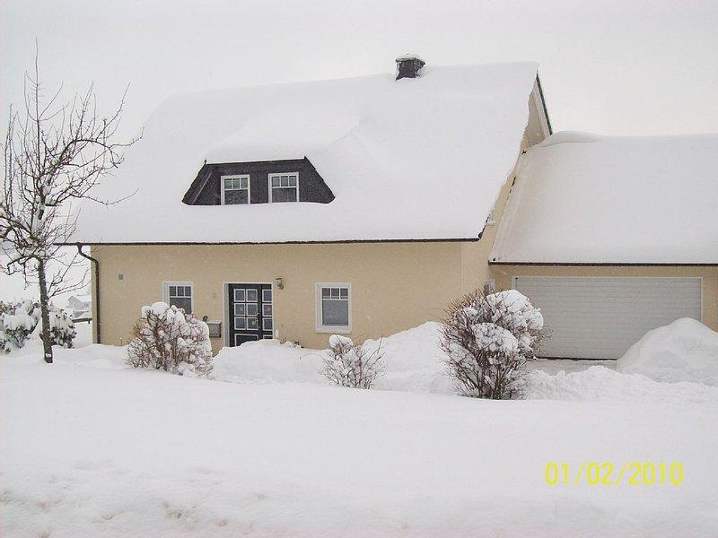 Ansicht von der Straße im Winter