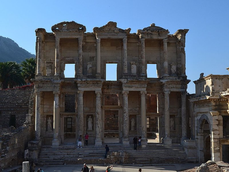 The Library of Celsus in Ephesus about an hour's drive from Akbuk