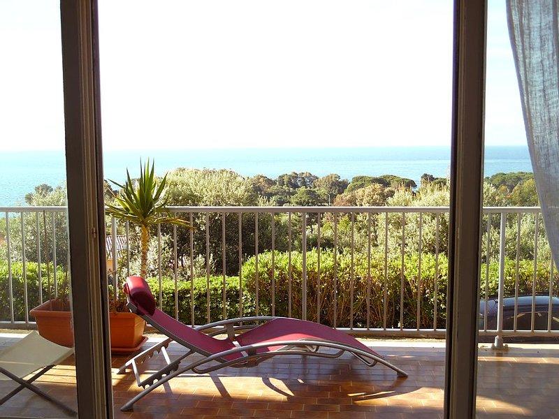 Vue de la terrasse vers la propriété de Tino Rossi et  la mer