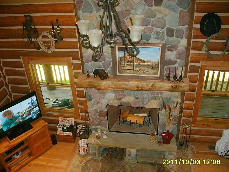 Fireplace and TV. seen from the loft