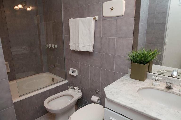 Modern bathroom includes tub, shower, bidet, sink, vanity and hairdryer.