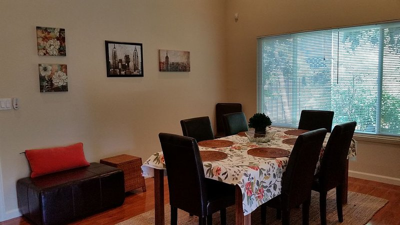 Large dining area with plenty of seating and conversation area