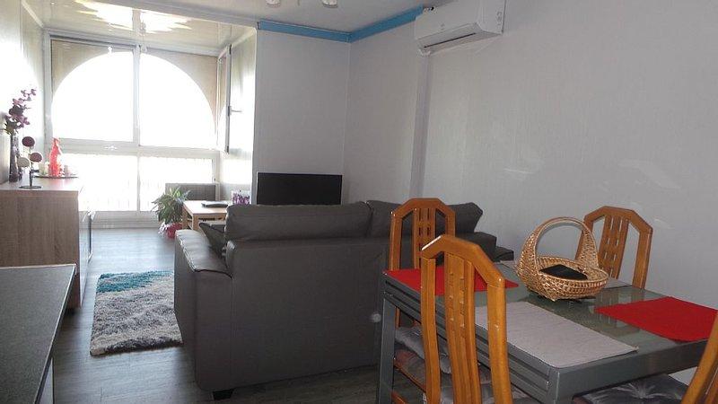 T2 idéal famille ou 2 couplesTout équipé, CLIM, four, Wifi, LV, LL-SL, Pk, etc., holiday rental in Mauguio